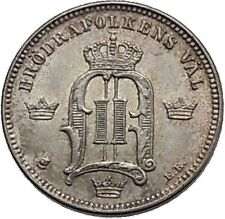 1904 King of Sweden Oscar Ii 1 Ore Antique European Coin Crowns Quality i45271