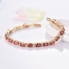 18K Yellow Gold Filled Delicate Red Garnet Rhinestone Bracelet Wedding Jewelry