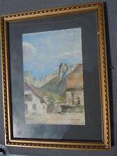 Aquarelle de Chevallier scène de rue animée village Corse ou Italie 19ème
