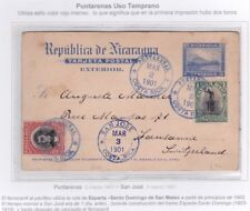 Nicaragua Postal card With Costa Rica Stamps To Switzerland 1901 Early USE JBP