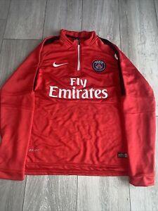 Nike Paris Saint Germain 1/4 Zip Football Pullover   Red   Size Medium