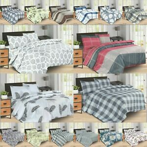 Bedding Set Duvet Quilt Cover With Fitted Sheet Pillow Case Single Double King