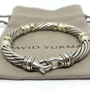 David Yurman 14k & Sterling Silver Cable Link Bracelet Gold Beads And Pearls 7MM