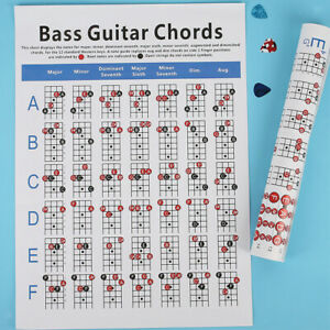 Electric Bass Guitar  Practice Chart Guide Chart Learn Play Guitar