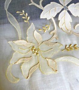 Vintage Madeira Linen Organza Tablecloth w/ Applique Leacock NWT  WW539