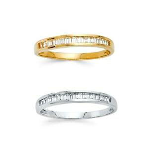 14k Yellow White Gold Wedding Band Ring Baguette Cut CZ Channel Set 2mm Size 7