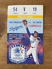 Los Angeles Dodgers 1984 Original Mlb Opening Day Ticket Stub St Louis Cardinals