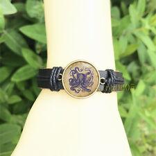 Blue Vintage Octopus Black Bangle 20 mm Glass Cabochon Leather Charm Bracelet