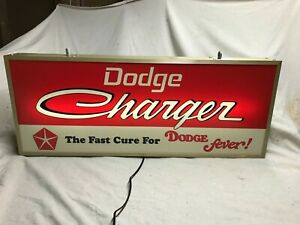 Large lighted Dodge charger dealership advertising sign hemi mopar scat pack