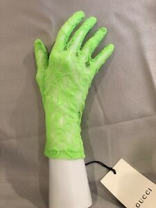 NWT 100% Authentic GUCCI Neon Green Brocade Lace Floral Motif Gloves Size S