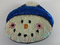 Snowman Sequined Beaded Gift Box Trinkets Blue