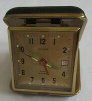 Vintage Sloan bedside Alarm/Date Clock w/ date setting Wind-Up Folding, Japan