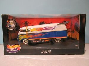NEW Collectible 1:18 Scale WHITE AND BLUE CUSTOMIZED VW DRAG BUS By HOT WHEELS