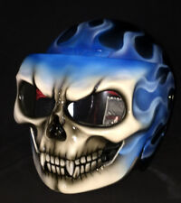 Custom Motorcycle Helmet Skull DOT Skeleton Death Ghost Rider Blue Fire S-XXL