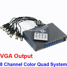 CCTV 8 Channel Digital Color Quad System Video Processor Splitter VGA Switcher A