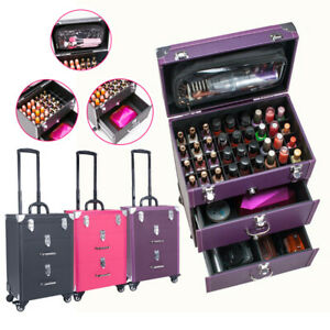 Makeup Box Travel Suitcase Cosmetic Nail Beauty Box Organizer Lockable Trolley