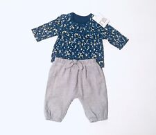 Mothercare Baby Girls Blue Floral Top & Grey Trousers Outfit Size Newborn