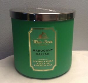 BATH & BODY WORKS WHITE BARN MAHOGANY BALSAM 3-WICK SCENTED CANDLE NEW #2