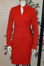 DIANE VON FURSTENBERG 12 M L red long sleeve wrap dress soft wool top stitch