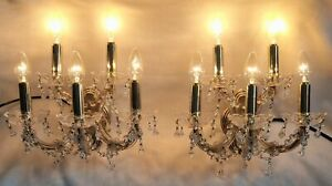 VINTAGE PAIR OF CRYSTAL GLASS FIVE ARM WALL LIGHTS