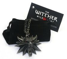 New Model Witcher 3 Wild Hunt Wolf Metal Medallion Pendant Chain Necklace w/ Bag