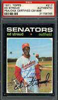 Ed Stroud PSA DNA Coa Autograph 1971 Topps Hand Signed