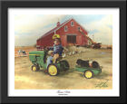 Tractor Ride 32x26 Large Black Wood Framed Art Print by Donald Zolan