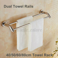 40-80cm Stainless Steel Bath Double Towel Rack Rail Holder Wall Mounte