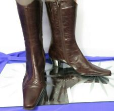 YOU KNOW brown leather cowboy winter pointy toe calf boots Size 40