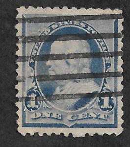US #219 (1890) 1c Benjamin Franklin -  Blue - Used - EFO: Fame on L1 - VF