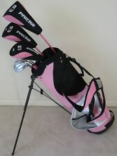 Ladies Golf Club Set Driver Wood Hybrid Irons Putter Stand Bag Pink Graphite