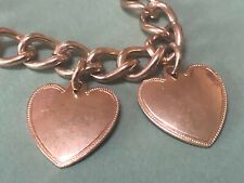 Vintage 1940's Sweetheart Bracelet with 2 Heart Charms - Not Engraved!