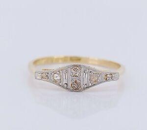 Antique Edwardian 18ct Gold & Platinum Diamond Cluster Engagement Ring UK Q