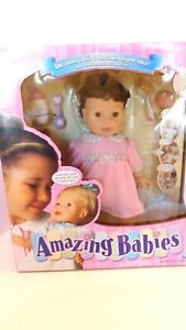 NIB New Playmates Amazing Babies Brunette Interactive Doll Brown Eyes Year 2000
