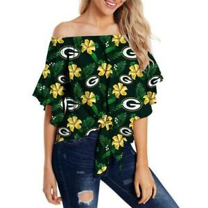 Green Bay Packers Women Casual Cold Shoulder T Shirt Floral Blouse Loose Top