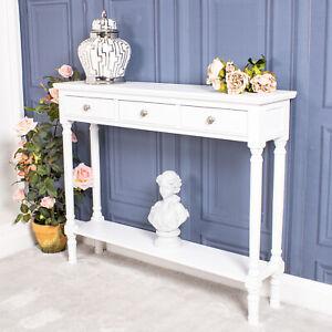 White Console Dressing Table 3 Drawer Wooden Slim Hallway Shelf Storage Chic