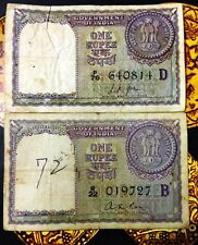 ONE RUPEE 2 BANK NOTES SIGNED BY FIN. SEC L K JHA & A K ROY YEAR 1957 A-19 & A-1