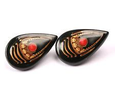 Ceramic Black Earrings with painted Detail, Vintage 1970s