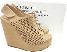 Pedro Garcia Tonya Wedge Sandals Platform Perforated Suede Slingback Shoes 38