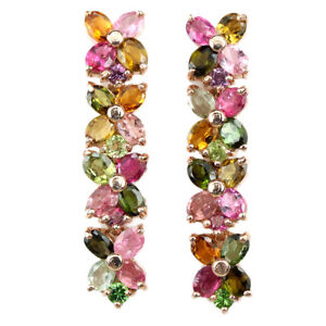 NATURAL MULTI COLOR TOURMALINE OVAL & ROUND STERLING 925 SILVER FLOWER EARRING