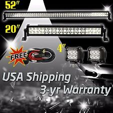 "52Inch 50"" LED Light Bar Combo + 20in +4"" CREE PODS OFFROAD SUV 4WD ATV JEEP FOG"