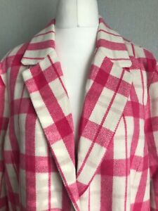 Longline Pink Check Duster Coat Size 18 NWOT
