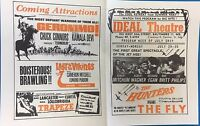 THE FLY BIG RED THE HUNTERS vintage 1958 handout for Ideal Theatre (Hampden MD)