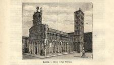 Stampa antica LUCCA Chiesa di San Michele Toscana 1891 Old antique print