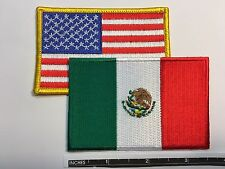 American Flag & Mexican Flag Embroidered Patch Iron-On Sew-On Mexico (3½ x 2¼�)