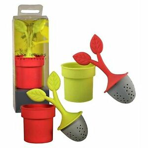Silicon Tea Infuser Loose Leaf Teas ONE Green or Pink Looks Like a Potted Plant