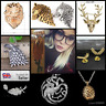 Game of Thrones Stark Wolf Targaryen Fire Dragon Pendant Necklace Charm Jewelry