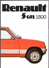 Renault 5 GTL 1300 1976 UK Market Foldout Sales Brochure