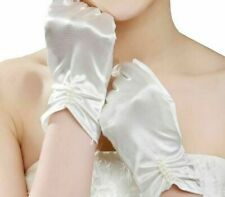 Short Wedding Glove Matte Satin Short One Size Wrist Length Plain Dyed Polyester