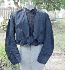 Antique Original Victorian Black Blouse W Beaded Front Trim And Lace In Front